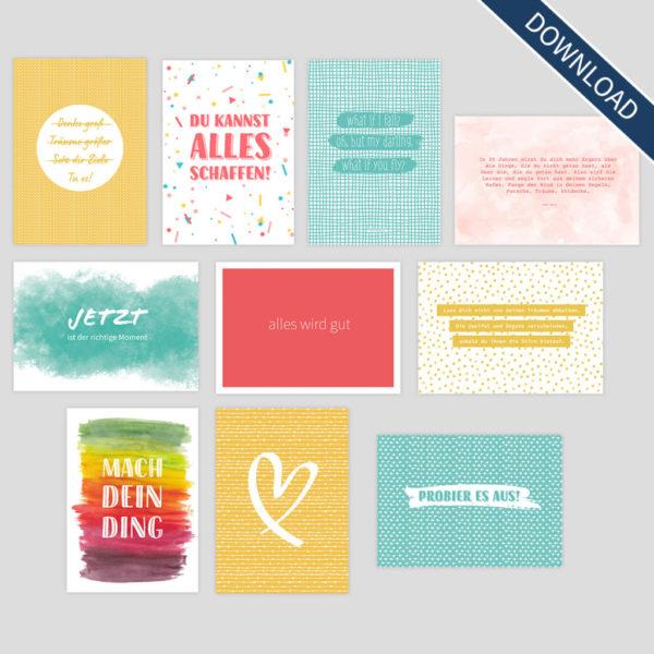 """Postkarten-Set """"Mach dein Ding!"""" (Digital Download)"""