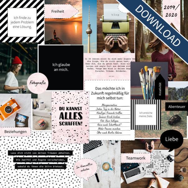 """Vision Board Layout-Set - """"Black & White"""" (Digital Download)"""